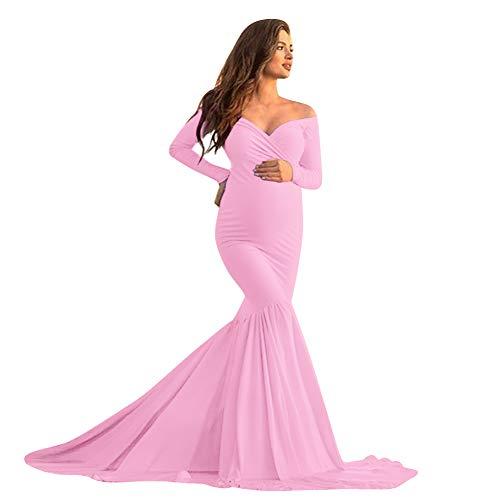 FYMNSI - Vestido para embarazadas con hombros descubiertos, largo hasta el suelo, para bodas, sesiones fotográficas, ropa para el embarazo, ropa Rosa. L