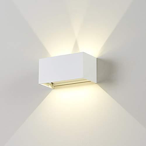 Dr.lazy 20W Lampada da Parete per Interni/Esterno LED Moderno, Applique da Parete Muro in Alluminio Angolo,Lampada Muro su e Giù Regolabile Design Angolo IP65 Impermeabile (Bianco/Bianco Naturale)
