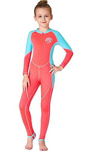 Youth Girls Boys One Piece Water Sports Sun Protection Rash Guard UPF 50+ Long Sleeves Full Suit Swimsuit Wetsuit Swimwear Orange
