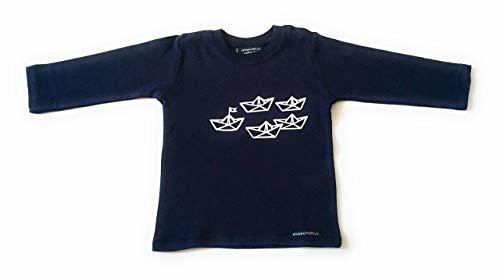 Langarmshirt Papierschiffchen - fair - Paperboats Schiff maritimes Baby Shirt dunkelblau-weiß von ebbeundflut