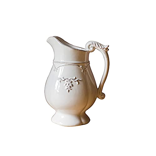 CJSWT Jarrón de cerámica Vintage Florero de cerámica Blanca, florero Decorativo para decoración del hogar, Jarra de Leche rústica de Granja para decoración del hogar y la Boda