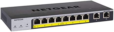 NETGEAR 10-Port PoE Gigabit Ethernet Smart Switch (GS310TP) - Managed, with 8 x PoE+ @ 55W, 2 x 1G SFP, Desktop or Wall Mount, S350 Series