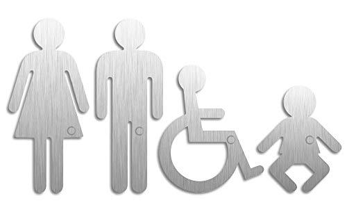 Toilettenschilder   XL Edelstahl Piktogramme Damen Herren Rollstuhl Baby   4er-Set Original Türschilder aus der Ofform Edelstahlschilder-Kollektion   Nr.1111