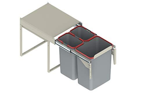 Cubo de reciclaje o basura, con sistema extraíble de 400 mm
