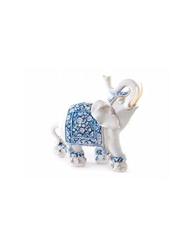 Hogar y Mas Elefante de la Suerte en Resina con Motivos Florales