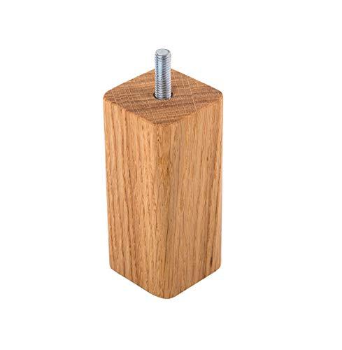 Lote de 8 patas para muebles de madera de roble, 45 x 45 mm, patas de sofá de madera de 10 cm de altura, esquinas redondeadas, patas de madera maciza (8, 10 cm de altura)