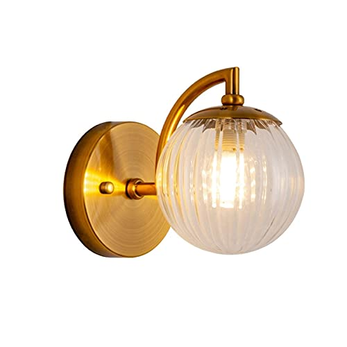 LITINGT Nordic Modern Mini Wall Sconce with Clear Glass Ball Shade Wall Lamp Indoor Bedside Lights E27 Lighting Fixture for Foyer Dining Room Decorative Wall Light