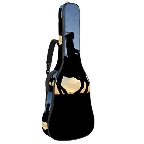 Funda de Guitarra Española Caballo silueta Bolsa Acolchada Para Guitarra Acústica con Asa de Transporte y Correa Para el Hombro 109x43x12cm