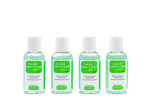 Hand Sanitizer Gel with Infused Aloe Vera Gel - 4 Pack of 2oz Travel Size - USA Made | 70% Ethyl Alcohol by Volume | Protect Against Germs