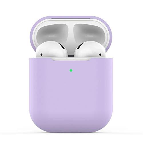Airpods Schutzhülle Hülle Kompatibel mit AirPods, KOKOKA Silikon AirPods Schutzhülle hülle [LED an der Frontseite Sichtbar] für AirPods Lavendel