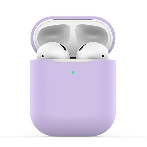 Airpods Custodia in Silicone Compatibile con AirPods 2 Custodia, KOKOKA Silicone Protettiva Case Cover for Airpods (LED anteriore Visibile) - [Supporta la Ricarica Wireless] Lavanda