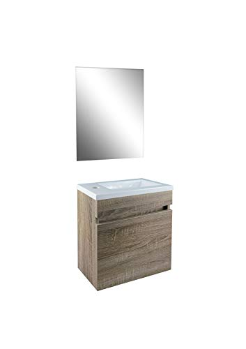 STARBATH PLUS Conjunto Mueble de Baño Suspendido MDF Lavabo Resina Espejo (Marron Nogal, 40 x 22 cm)