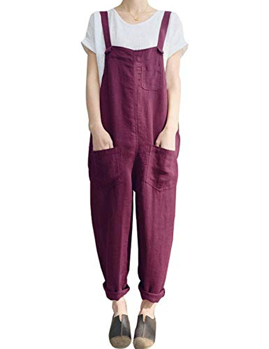 Gihuo Women's Casual Baggy Loose Cotton Linen Overalls Jumpsuit(Wine-M)