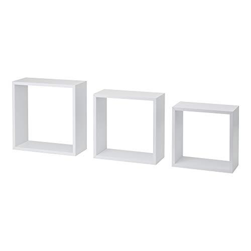 Casashelf Juego de 3 estantes de Pared Cube Blanco 24/27 / 30cm
