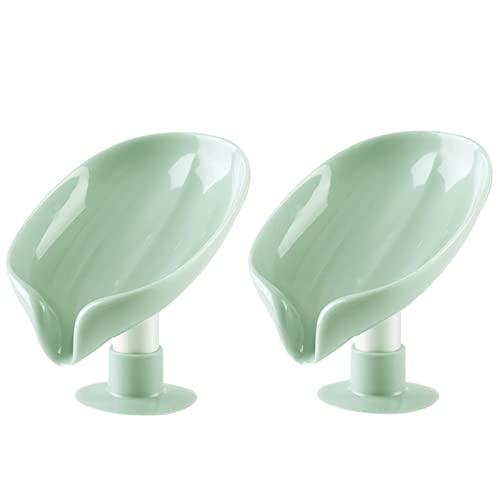 Caja de jabón Plato del soporte de jabón de forma de hoja for el plato de jabón de baño de ventosa de ventosa del envase del drenaje de caja de caja de almacenamiento de caja de almacenamiento acceso