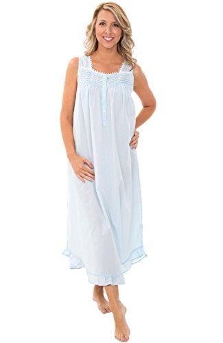 Alexander Del Rossa Womens 100% Cotton Lawn Nightgown, Spaghetti Strap Sleep Dress, Small Light Blue (A0587LBLSM)