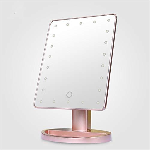 Wuxingqing Make-upspiegel op batterijen, led-make-upspiegel met touchscreen, verlicht, 180 graden draaibaar, zwart, wit, roze