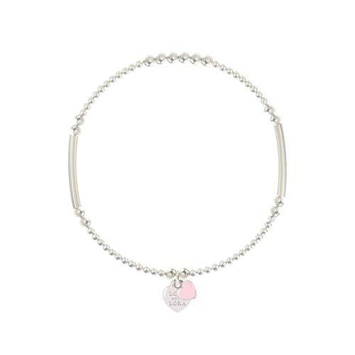 Lora di Lora Pulsera Candy-Blossom Pink. Una cuerda individual Plata para mujer 18 cm
