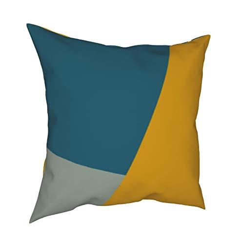 Uliykon Fundas de cojín decorativas de color verde azulado y mostaza, fundas de almohada para sofá, dormitorio, coche, con cremallera invisible, 45,7 x 45,7 cm