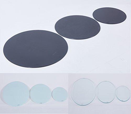 Euro Tische Glasplatte rund universell einsetzbar - Glasscheibe mit 6mm ESG Sicherheitsglas - perfekt geeignet als Tischplatte/Bodenplatte - 30cm / 40cm / 50cm (Schwarz, 50 cm)