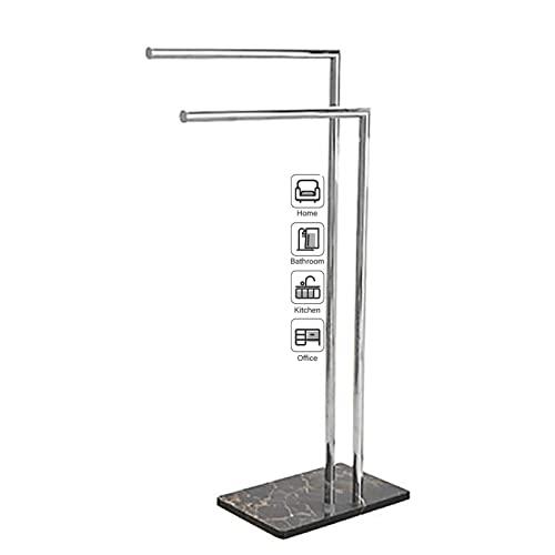 ilbcavne Toallero de doble piso, 2 niveles alto moderno soporte de toalla independiente, soporte de barra de toalla de acero inoxidable para baño, sauna, cocina, piscina (color plata)