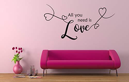 All you need is love, Vinilo decorativo, mural, casa, hogar, decoración de paredes, sala de estar, dormitorio, decoración,