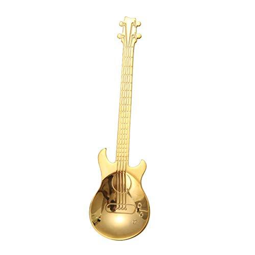 Cuchara de café con forma de guitarra de acero inoxidable para mezclar té y postre (dorado)