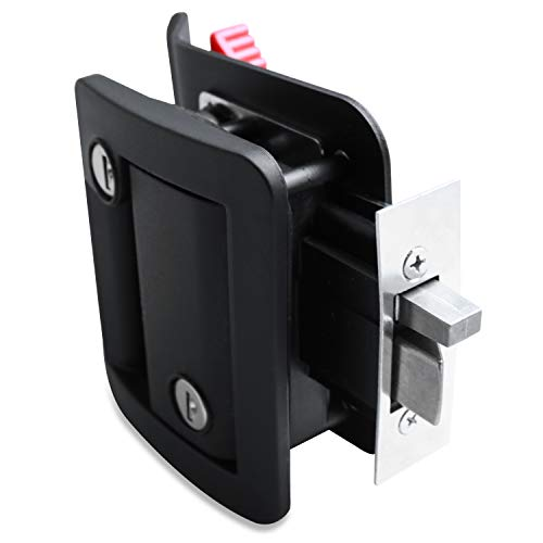 RV Travel Trailer Entry Door Lock Polar Black Paddle Deadbolt