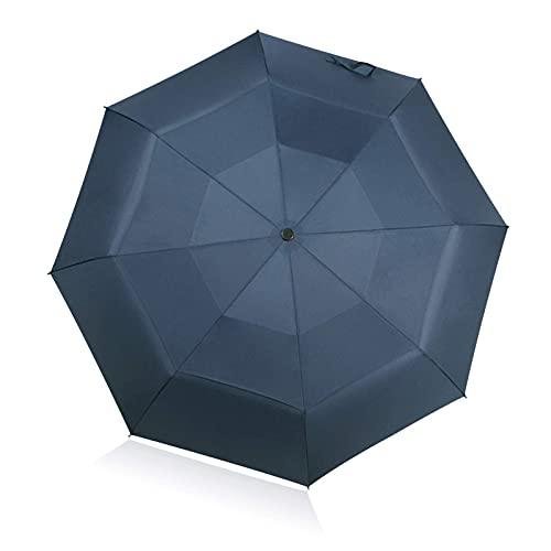 Paraguas de viaje compacto a prueba de viento doble toldo diseño durable portátil azul lluvia paraguas viaje al aire libre