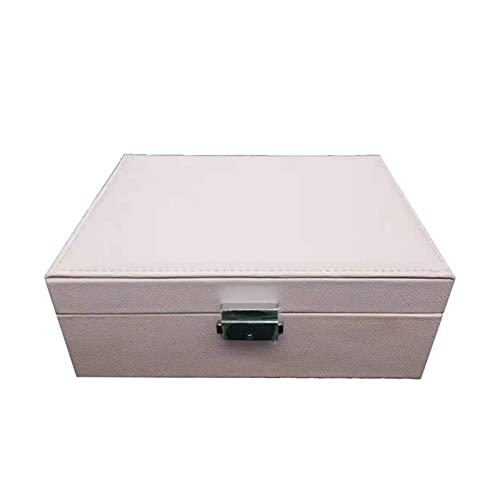 JTKJ Caja de almacenamiento de joyería de doble capa de gran capacidad se utiliza para almacenar pendientes, collares, pulseras y otros accesorios flor de cerezo en polvo 23 x 17 x 9 cm