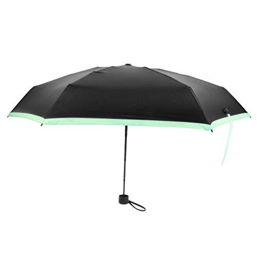Prettyia Mini Regenschirm Reisen Sonne & Regen Leichte Kleine und Kompakte Anzug für Tasche Sonnenschirm mit UV Schutz für Frauen Männer kinder - Grün