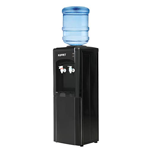 KUPPET Top Loading Water Cooler Dispenser,3 or 5 Gallon Bottle,PP material Electrical Cooling HOT and COLD Anti-Scalding Design And Storage Cabinet For Home Use,Black