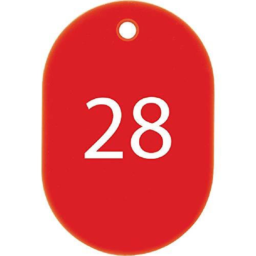 オープン工業 番号札 小 赤 25枚 26-50番 セット BF-71-RD