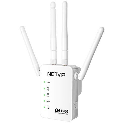 NETVIP Ripetitore WiFi Wireless AC1200 Range Extender Universale Ripetitori WiFi Segnale Velocità Dual Band (867Mbps/5G, 300Mbps/2.4G) WPS Amplificatore WiFi Router, Compatibile con Modem Fibra e ADSL