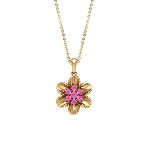 Collares de piedras preciosas de 1/3 quilates, collar con colgante de flor para mujeres, colgantes de zafiro naranja creado en laboratorio, collares con colgante de gota de oro (calidad AAAA) rosa