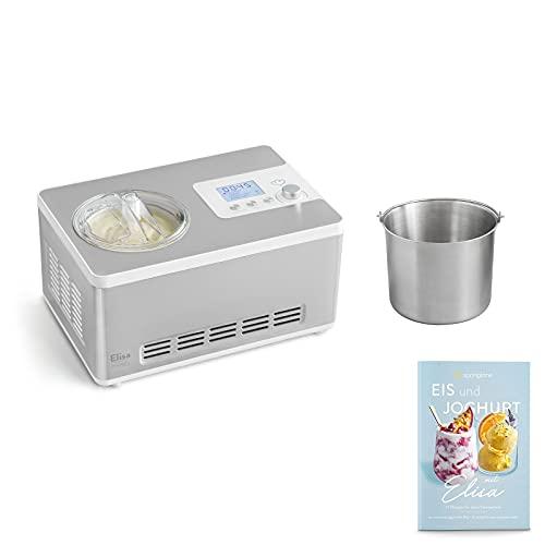 Eismaschine & Joghurtbereiter Elisa 2,0 L mit selbstkühlendem Kompressor 180 W inkl. Edelstahl Zusatzbehälter, aus Edelstahl mit Kühl- und Heizfunktion, inkl. Rezeptheft