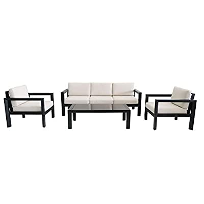 Quality Outdoor Living 65-YZ04MY Monterey 4-Piece Outdoor Deep Seating Conversation Set, Black