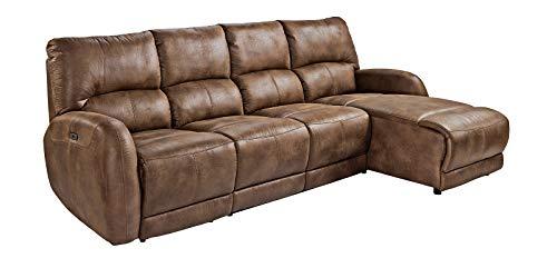 lifestyle4living Ecksofa in Braunem Vintage-Mikrofaserstoff mit Relaxfunktion | Relaxsofa elektrisch verstellbar | Gemütliches L-Sofa in modernem Look
