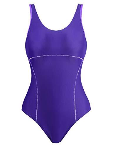 Womens Solid Color One Piece Swimsuit/Bathig Suit/Swim Suit for Lap Swimming(Purple,XXL)