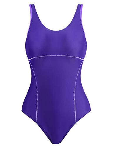 Womens Solid Color One Piece Swimsuit/Bathig Suit/Swim Suit for Lap Swimming(Purple,XXL)
