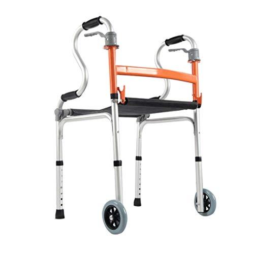 TTOOY Andadores estándares y Ligeros Ayuda para Caminar para Anciano, Marco para Caminar para discapacitados de aleación de Aluminio Grueso Que Puede Sentarse Silla de Ducha Plegable con o sin Rueda