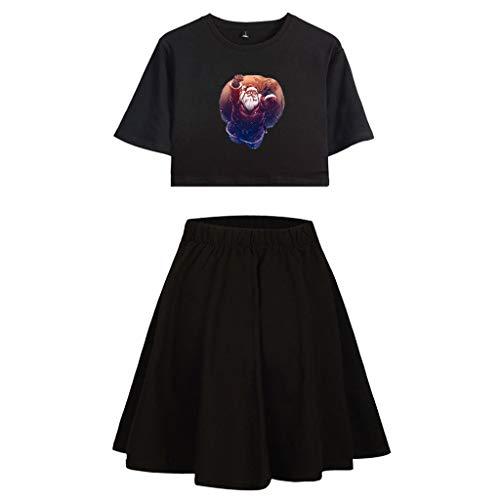 Vrouwen Kerst Jurk Suit, Dames Korte Mouw Kerstman Print Korte T-shirt en Midden-Skirt Pak