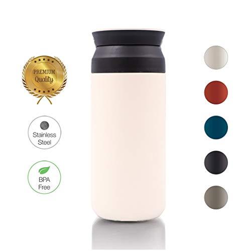 99AMZ Neue Premium Edelstahl Kaffee-to-Go-Becher – Isolierbecher – Thermo-Becher – Doppelwandig & Vakuumisoliert - 350 ml – Reise-Becher Kaffee und Tee zum Mitnehmen – Autobecher Travel Mug (Weiß)