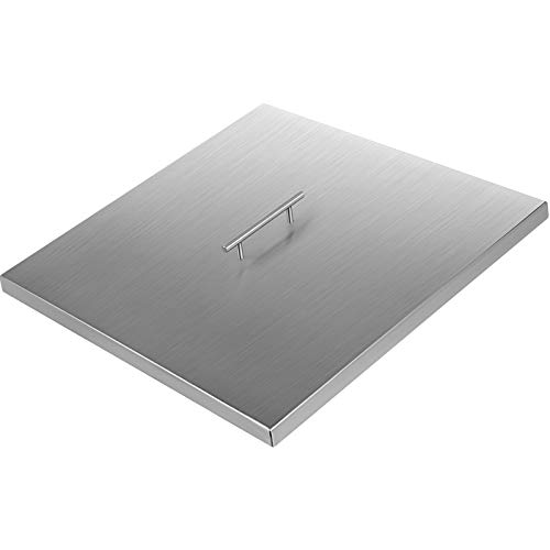 VBENLEM Fire Pit Lid 21x21 Inch 1.5mm Thick 430 Stainless Steel Fire Pit Cover Square Fire Pit Lid for Drop-in Fire Pit Pan