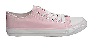 حذاء رياضي قماش بتصميم منخفض ورباط للنساء من ديجافو - زهري وابيض