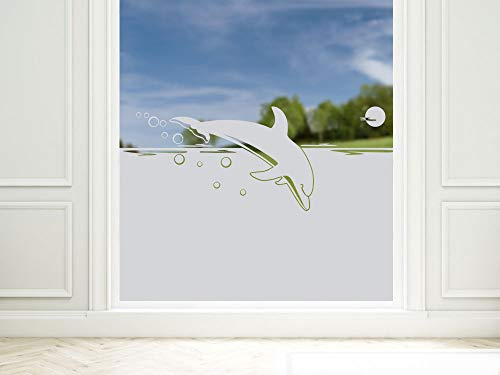 Graz Design privacy film dolfijn / golven, lichtdoorlatend glasdecoratiefolie, raamfolie voor decoratie/privacy
