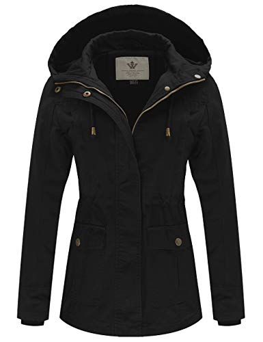 WenVen Women's Spring Cotton Military Coat Anorak Hooded Jacket(Black, M)