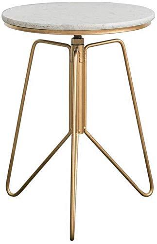 QTQZDD marmer kleine salontafel, huishoudelijk, ijzeren kunst, hoekbank, een paar woonkamer, gouden zijde kan kleine ronde tafel eettafel theetafel (kleur: D) tillen 1 1