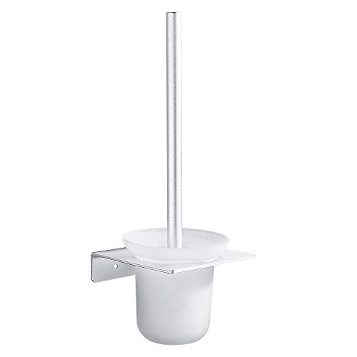 GERUIKE Brosse Toilette WC Balayette Brosse DeToilette Murale Support Auto-Adhésif Support en Aluminium Space Récipient en Verre Dépoli Pose Murale sans Clou sans Perçage Argent