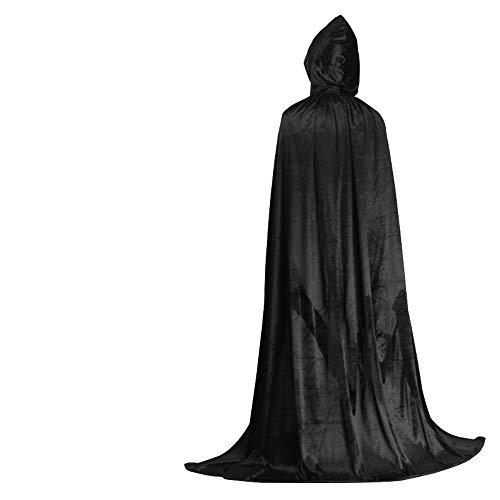QSEFT 1Pc Halloween God Of Death Mantello Con Cappuccio Cape Strega Adulto Devil Robe Piano Lunghezza Cosplay Per Feste,Black,170Cm